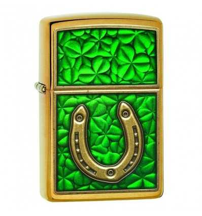 Brichete Zippo Zippo Horseshoe on Shamrock Pattern